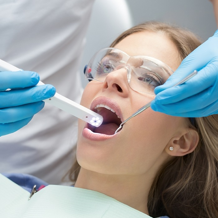 Woman receiving intraoral images